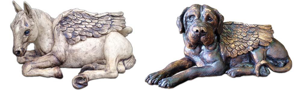 Schutzengel Skulptur Pferd Hund